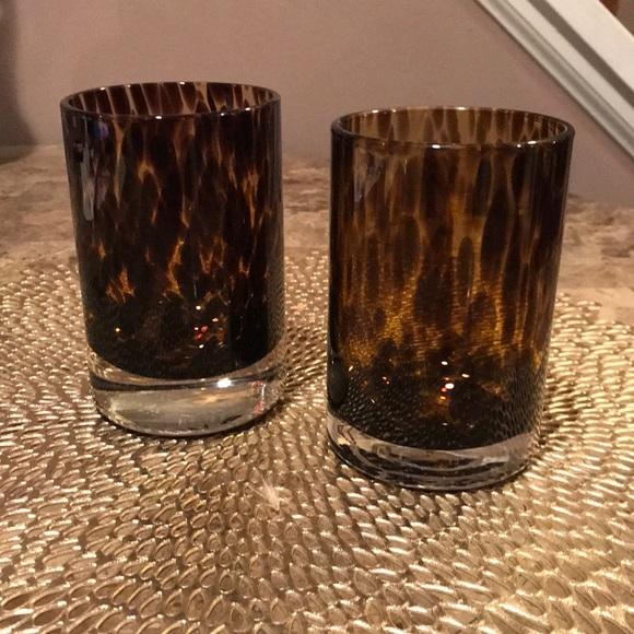 Pottery Barn Set/2 Tortoiseshell Glass Votives